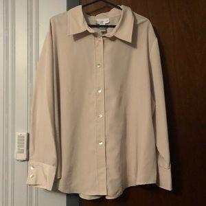 Susan Graver khaki button front shirt
